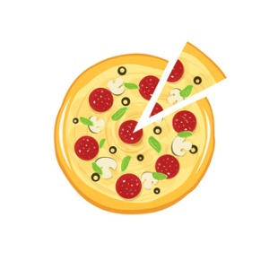 Pizza vector icon isolated on white background